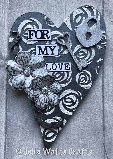Heart MDF Crackle Paste Rose Swirl Mask