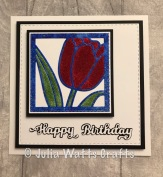 Tulip Flower Square Paper Pieced Sparkle Shakers