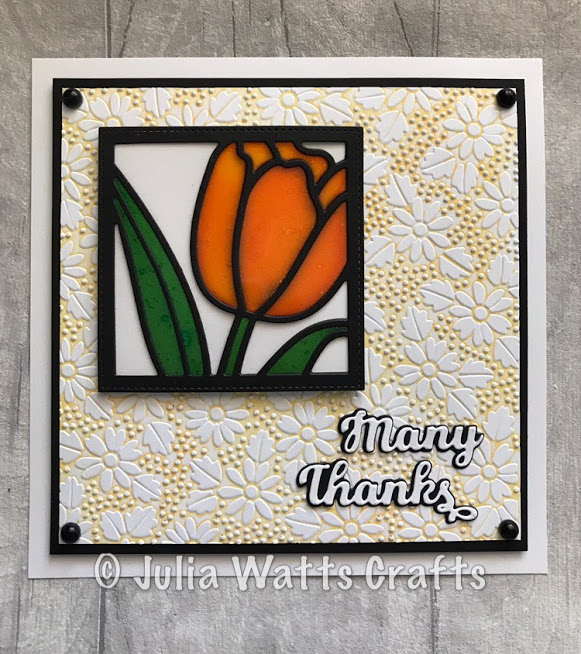 Tulip Flower Square Stained Glass
