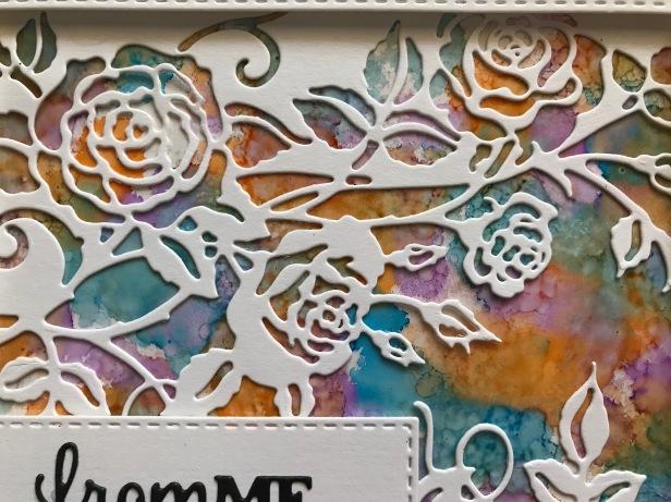 Paper Cuts Rambling Rose Edger Alcohol Inks Acetate