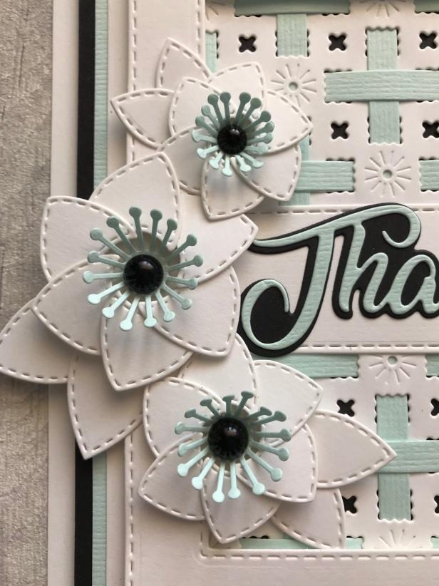 Petal Pocket Flowers Coconut White Seafoam Textured Card