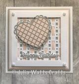 Woven Trellis Heart Diagonal Background Soft Salmon Silver