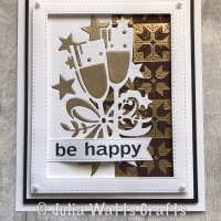 Champagne Edger with embossed Glitter Kiss background