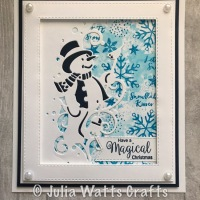 Paper Cuts Snowman Edger with a stamped background