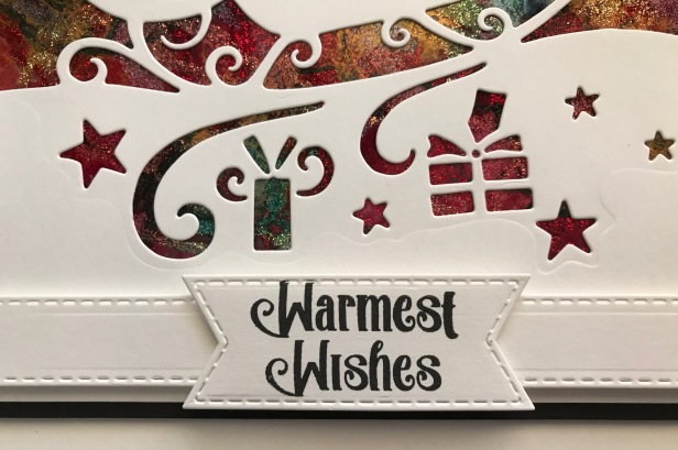 CHristmas Sayings Stitched Flags Moonlit Sleigh